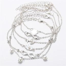 defd1e99ea4f Tobilleras Pulsera para Las Mujeres Niñas de Plata de Oro Encanto de Moda  Melocotón Corazón Ancla Granos de Perlas Artificiales de Aleación Sexy  Sandalia ...