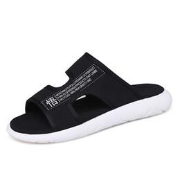 $enCountryForm.capitalKeyWord Australia - Fashion Men Slippers 2019 Summer Comfortable Casual Breathable Beach Slippers Black Men Slides Flat Sandals Shoes Home Shoes