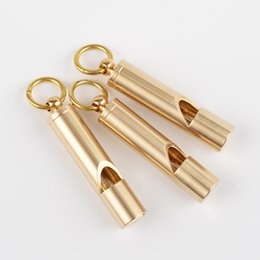 Wholesale 1Pcs Vintage Brass Whistle Handmade Survival Whistle Keychain Pendant Outdoor EDC Tool Football Basketball Sports Whistle
