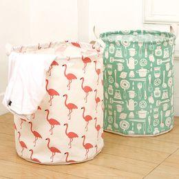 White Toy Organizer Australia - Cartoon Cotton Linen Waterproof Laundry Basket Folding Clothes Storage Box Basket Bucket Children Toys Organizer