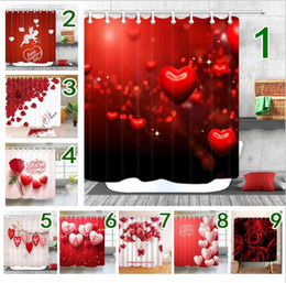 Shower bath curtainS online shopping - Shower Curtain Valentine s Day White Swan Couple Heart Bathroom Shower Polyester Fabric Bath Curtain cm MMA1314
