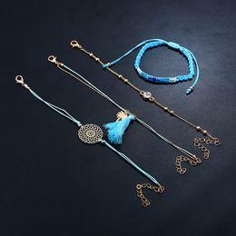 Man Made Diamonds Australia - Fashion handmade weave blue rope chain diamond Bracelet set pendant For Women Brand girlfriend boyfriend gift crafts dinner accessoriese