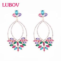 Gem desiGns online shopping - LUBOV New Colorful Flower Big Brand Design Luxury Starburst Pendant Crystal Drop Earrings Gem Statement Earrings Jewelry