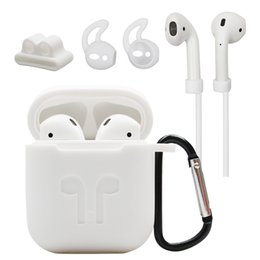 $enCountryForm.capitalKeyWord Australia - 5 in 1 Set Pack Silicone Cover For AirPods Earphone Pouch Anti-lost strap Earbuds Case Wireless Earphone Case  w hook High Quality FAST SHIP