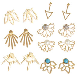 $enCountryForm.capitalKeyWord Australia - 7 Pairs Ear Jacket Stud Lotus Flower Earrings For Women And Girls Set For Ears Simple Chic Jewelry Plant Leaf Turquoise Earring Accessory