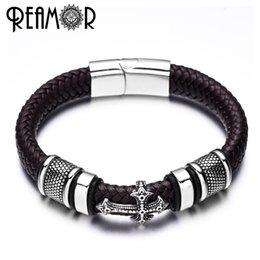 Cross Cuffs stainless steel online shopping - REAMOR mm Width Braided Leather Men Bracelets L Stainless Steel Cross Charms Cuff Bracelets Bangles Trendy Male Jewelry