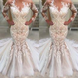 Long Robes Plus Size Australia - 2019 New Long Sleeves Mermaid Wedding Dresses Lace Appliques Sweep Train Custom Made Plus Size Bridal Gowns Robe de mariée sirène