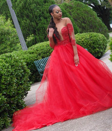 Long bLack strapLess dresses online shopping - Red Tulle Dress For Prom Black Girls A line Beaded Appliques Illusion Bodice Evening Party Dresses With Sheer Long Sleeves