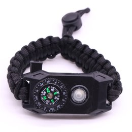 $enCountryForm.capitalKeyWord UK - Outdoor Rescue Paracord Bracelets LED Light Compass Polyester Braided Umbrella Rope Bangle for Men SP2678