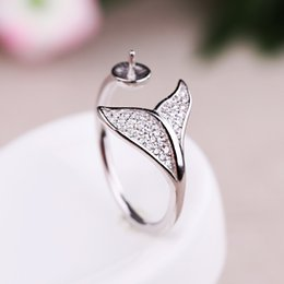 Wholesale 925 Sterling Silver Women Engagement Wedding Ring CZ mm Round Bead or Pearl Semi Mount Ring Setting
