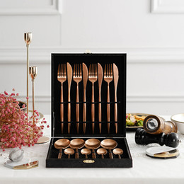 cutlery stainless steel box Australia - 16pcs Tableware 18 10 Stainless Steel Steak Knife Fork Party Rose Gold Cutlery Set With Gift Box Dinnerware Set Drop Shipping