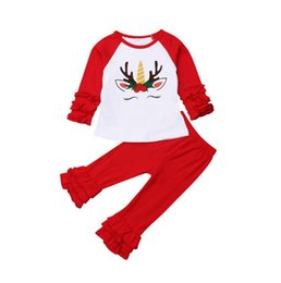 China Christmas Baby Girls Clothes Set Xmas Elk Unicorns T-shirts Red Ruffled Pants Suits Raglan Shirt Tops Trousers Kids Casual Clothing YL938 suppliers