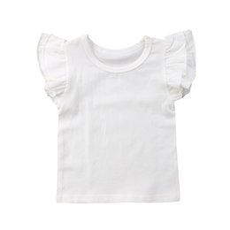 $enCountryForm.capitalKeyWord Australia - Newborn Toddler Baby Girls Boy T-shirts Flying Sleeves Solid Tops Bodysuit Outfits Kid Clothes 0-4t Fashion Summer Ruffle Tees