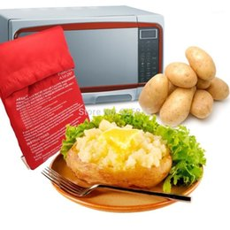 potatoes bags 2020 - Wholesale- Red Washable Cooker Bag Baked Potato Microwave Cooking Potato Quick Fast (cooks 4 potatoes at once) Hot 20161