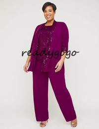 Chiffon Pants Set Australia - three Piece Lace Gala Pant Suit 2019 Plus Size Fuchsia Lace Chiffon Custom Make Mother Of the Bride Groom Suit Set