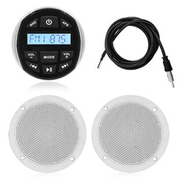 "car mp3 player speaker Canada - Marine Stereo Boat Audio Bluetooth Radio Receiver FM AM Car MP3 Player+4"" Waterproof Marine Speaker+Hidden Antenna For RV Yacht"
