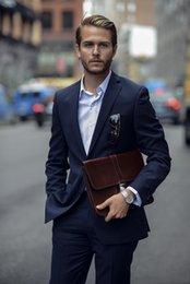 $enCountryForm.capitalKeyWord Australia - Custom Made Navy Blue Two Pieces Wedding Tuxedos Slim Fit Peaked Lapel Men's Office Suit Cheap Groom (Jacket and Pant)