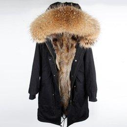 Опт 2019AW Long Parka Real Natural енота меховой воротник пальто с капюшоном Fox Fur Liner над коленом Зимняя куртка женщин черный ветровки T190928
