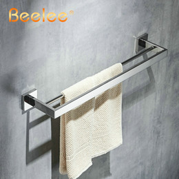 wall mounted towel bars Canada - Towel Bar Double Bars SUS304 Stainless Steel Polish Chrome Bathroom Towel Rail Bar Double Layer Brass Towel Holder Wall Mount