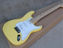 milk cans NZ - perfect Factory Electric Guitar with Scalloped Neck,Milk Yellow Body,White Pickguard,Chrome Hardware,SSS Pickups,Can be Customized