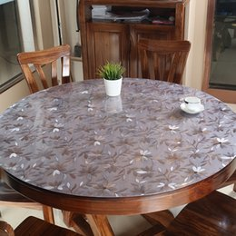 Discount wholesale round table covers - PVC Tablecloth Table Cover Round Desk Soft Glass Waterproof Oilproof Kitchen Dining Room Home Round Table cloth 60-90cm