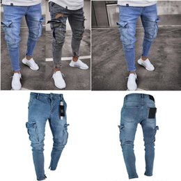 trend ripped jeans Canada - 2019 Ripped jeans Good Quality Stretch Men's Jeans Trend Knee Holes Zipper Feet Trousers Free Shipping S-4XL