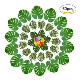 Wholesale 60pcs Hawaii Style Leaves Table Decoration Set Beach Theme Party Supplies Q190606