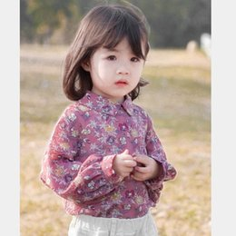 girls floral shirts Australia - New floral girls shirts sweet girls tops blouses kids designer clothes girls long sleeve shirts kids Tshirt kids clothing A7227