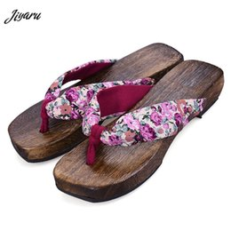 Discount floral print shoes for women - 2019 New Women Flip Flops Floral Female Japanese Geta Clogs Wooden Summer Ladies Slippers Sandals Anime Cosplay Shoes fo