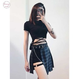 Wholesale fashion harajuku skirt for sale - Group buy Gothic Harajuku Mini Pleated Skirts Womens Without Shorts Hollowed Out Plaid Women Fashion Summe Clothes Sexy Skirt
