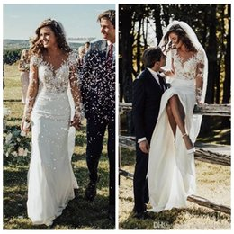 $enCountryForm.capitalKeyWord Australia - Sexy Amazing Slim Mermaid Wedding Dresses Modest Long Sleeves Lace Appliques Garden Bridal Gowns Customized Formal Long Robe De Mariee