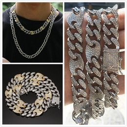 $enCountryForm.capitalKeyWord NZ - Luxury Designer White Gold 2 Color Diamond Mens Silver Chain Iced Out Cuban Link Choker & Long Necklace Cubic Zirconia Jewelry Gifts for Men