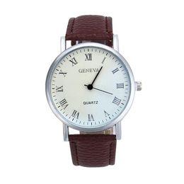$enCountryForm.capitalKeyWord Australia - Geneva Women Men Watch White Dial Black Roman Numeral Pointer PU Leather Strap Quartz Wrist Watch reloj hombre reloj de hombre