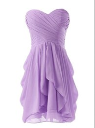 ruffled sweetheart strapless wedding dress Australia - NEW Simple Strapless Short Bridesmaid Dresses 2019 Sweetheart Pleat A Line Ruffles Knee Length Chiffon Prom Party Gowns Wedding Guest Gowns