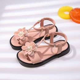 pearl flower girl shoes UK - Sandals Girls Kids Sandals Princess Sweet Flower Children Summer Beach Shoes 2020 Brand New Soft Sweet Floral With Pearl 26-36