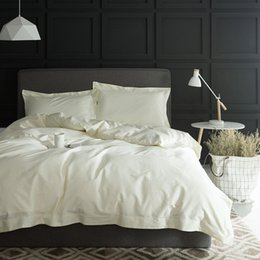 Bedsheet Cotton White Australia - 1000TC Egypt cotton White Color Bedding set 4PCS KING QUEEN SIZE tribute silk Hotel Bed set Cotton bed linen bedsheet set26