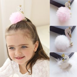 d6a46bb89774d Glitter Swan Hair Clips Soft Feather Pompom Hairgrips Boutique Chiffon  Flower Hairpins For Lovely Princess Gift Hair Accessories