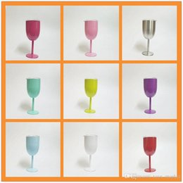 $enCountryForm.capitalKeyWord Australia - 10oz Stainless Steel Wine Glass 9 Colors Cup Double Wall Insulated Metal Goblet With Lid Tumbler Red Wine Mugs