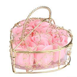 $enCountryForm.capitalKeyWord UK - 6Pcs Scented Rose Flower Heart Shaped Iron Basket Petal Bath Soap Flower Romantic Soap Rose For Valentine Wedding Christmas Gift