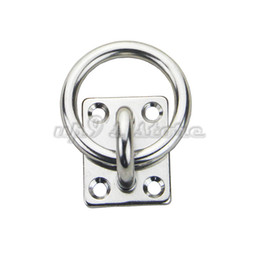 China 4PCS 316 Stainless Steel Square Eye Plate 6MM Eye Hook + Ring for marine boats suppliers