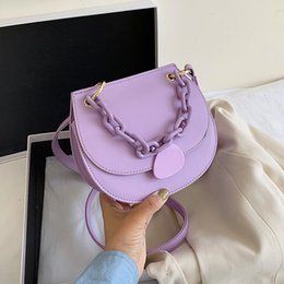 color stone buttons UK - Solid Color Saddle Bags Small PU Leather Crossbody Bags For Women 2020 Female Candy Color Summer Chain Shoulder Handbags