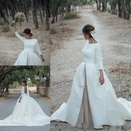 sexy country shirts Australia - 2020 Country Vintage Satin Wedding Dresses Sexy Backless Long Sleeves A Line Bridal Gowns Spring Sweep Train Wedding Vestidos De Noiva