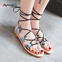 $enCountryForm.capitalKeyWord NZ - Snake Print Women Sandals Pu Leather Ankle Strap Flat Sandals Open Toe Roman Summer women shoes Beach Casual Large Size