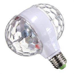 Rotating Disco Ball Light Australia - LMCO 6W E27 RGB Crystal Ball Rotating LED Stage Light Bulb Double Head for Club DJ Disco Party