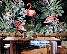 Hand Paper Roll Australia - Hand Painted Wall Paper European Idyllic Flamingo Tropical Rainforest Southeast Asia Mural Background 3d Wallpaper