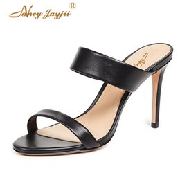 Slippers Summer Shoes Adult Australia - Nancyjayjii Woman slippers Ladies Shoes Adult Black solid Patent Leather Ankle-Wrap Summer Super High thin heels Elegant2019