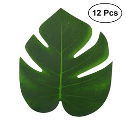 Wholesale 12pcs x18cm Artificial Tropical Palm Leaves Simulation Leaf For Hawaiian Luau Party Jungle Beach Theme Party Decorations