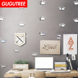 crystal sticker decals Australia - Decorate Home 3D crown cartoon mirror art wall sticker decoration Decals mural painting Removable Decor Wallpaper G-346