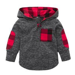 Ingrosso 2018 NUOVA Moda Popolare Toddler Kid Baby Girl Plaid Felpa con cappuccio Tasca Felpa Pullover Top Abbigliamento caldo Felpe con cappuccio per bambini