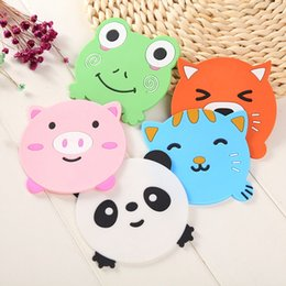 bar table accessories UK - 20Pcs Silicone Dining Table Placemat Coaster Kitchen Accessories Mat Cup Bar Mug Cartoon Animal Panda Frog Cat Pig Drink Pads